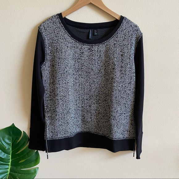 CYNTHIA ROWLEY Tweed Herringbone Sweater Black S